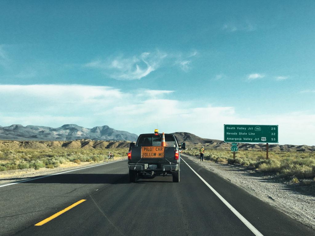 Pilot Follow Me Car Road Works Highway 127 Road Trip Las Vegas Death Valley