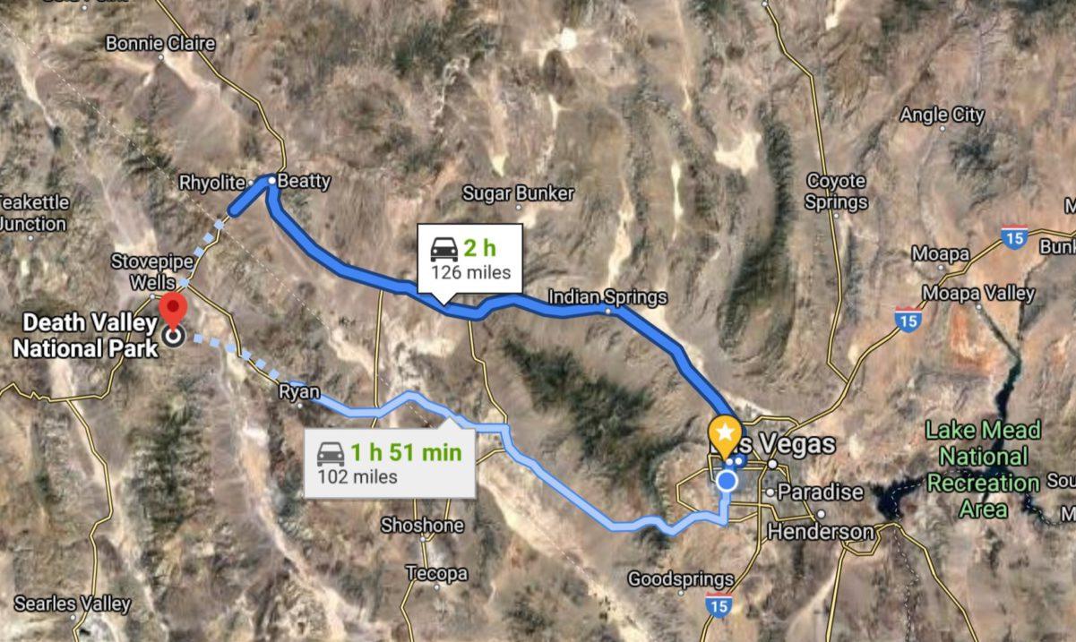 Distance Las Vegas Death Valley