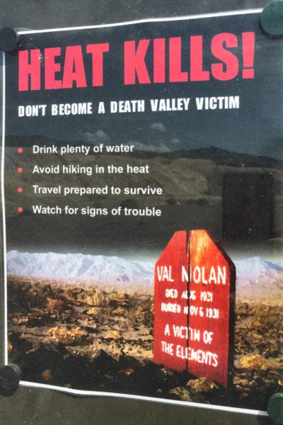 Death Valley Heat Warning Sign Day Trip Las Vegas
